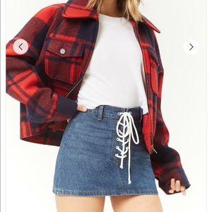 Forever 21 lace up denim mini skirt